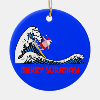 Surfing Santa Ceramic Ornament
