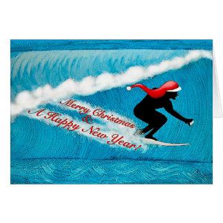 Surfing Santa Christmas Card