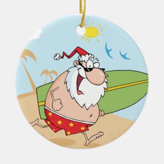 Surfing Santa Claus Round Ceramic Decoration