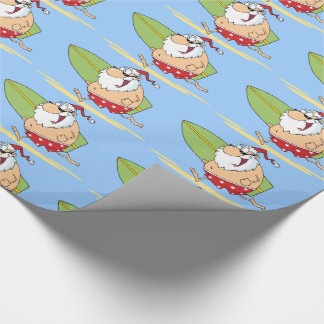 Surfing Santa Claus Wrapping Paper