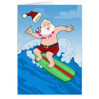 Surfing Santa Funny Christmas Card