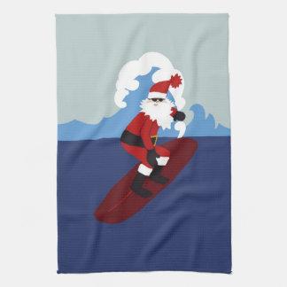 Surfing Santa Kitchen Towel