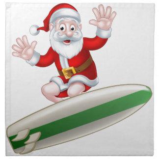 Surfing Santa Napkin
