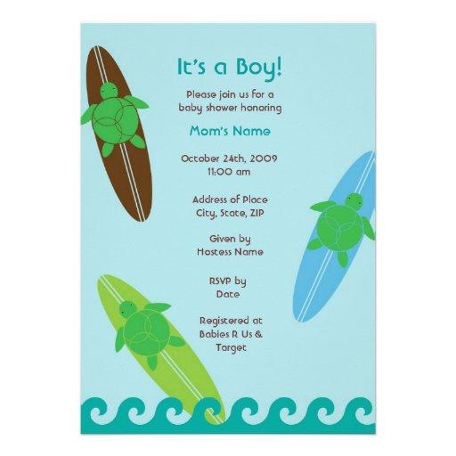 surfing sea turtle baby shower invitation 13 cm x 18 cm invitation