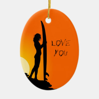 Surfing Silhouette Custom Boyfriend Xmas Ornament