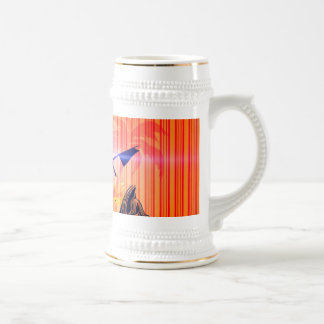 Surfing, sufboarder on elegant stripes background coffee mug