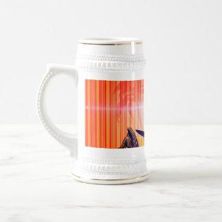 Surfing, sufboarder on elegant stripes background mug