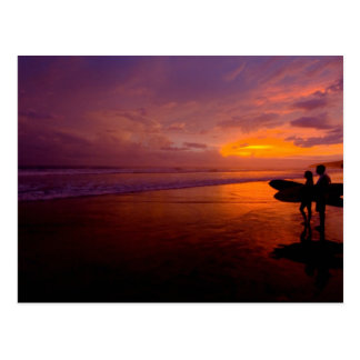 surfing sunset postcard