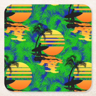 Surfing Sunset Square Paper Coaster