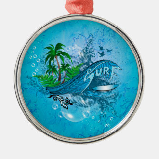 Surfing, surfboard with palm metal ornament