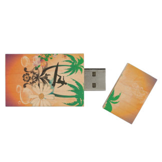 Surfing, surfboarder with palm and flowers wood USB 2.0 flash drive