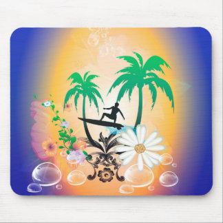 Surfing, surfboarder with palm and flowers mouse pad