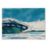 Surfing Surfer Green Sea Wave Baja California Art Poster