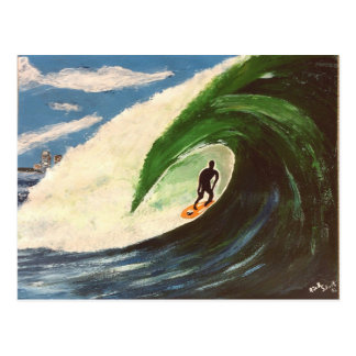 Surfing Surfer The Tube Ride Art Painting Postcard