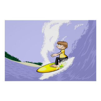 Surfing the great waves of hawaii poster