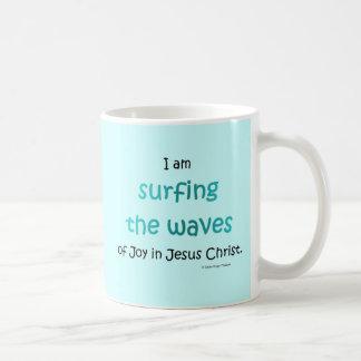 surfing the waves coffee mug