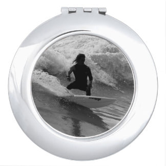 Surfing The Waves Grayscale Compact Mirror