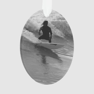Surfing The Waves Grayscale Ornament