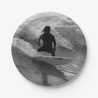 Surfing The Waves Grayscale Paper Plate