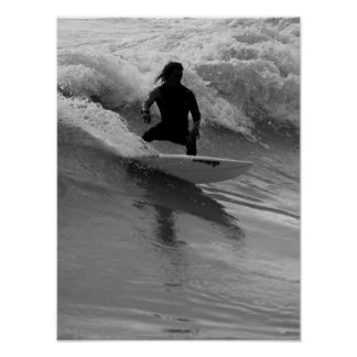 Surfing The Waves Grayscale Poster