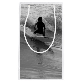 Surfing The Waves Grayscale Small Gift Bag