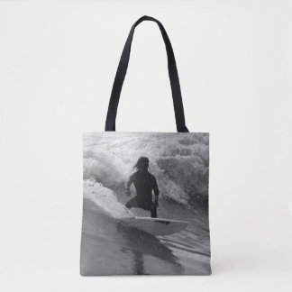 Surfing The Waves Grayscale Tote Bag