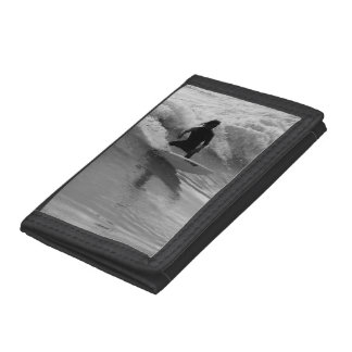 Surfing The Waves Grayscale Tri-fold Wallets