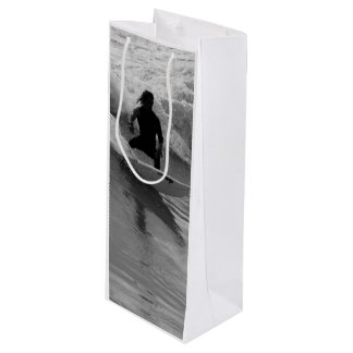Surfing The Waves Grayscale Wine Gift Bag