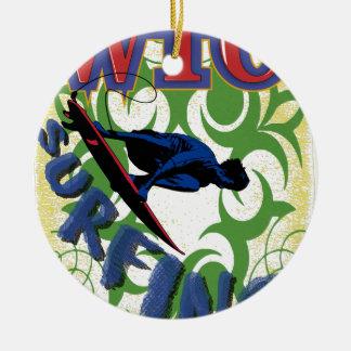 surfing tribal ceramic ornament