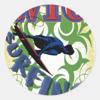 surfing tribal classic round sticker