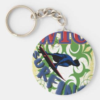 surfing tribal key ring