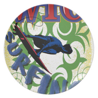 surfing tribal plate