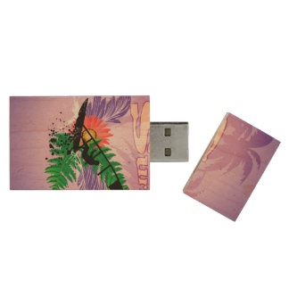 Surfing, tropical design wood USB 2.0 flash drive