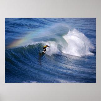 Surfing Under A Rainbow Print