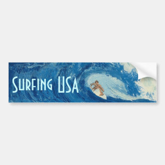 Surfing USA Bumper sticker surf art surfer sticker