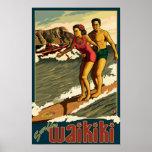 Surfing Waikiki - Honolulu, Hawaii Travel Poster