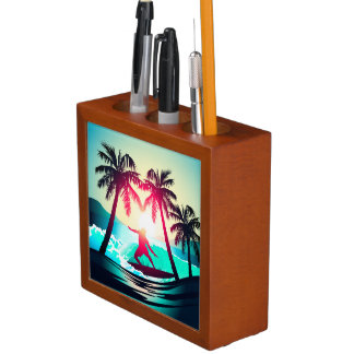 Surfing with palm trees desk organiser
