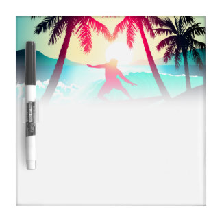 Surfing with palm trees dry erase board