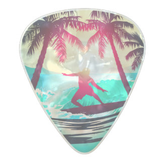 Surfing with palm trees pearl celluloid guitar pick