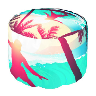 Surfing with palm trees pouf