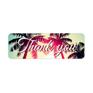 Surfing with palm trees return address label