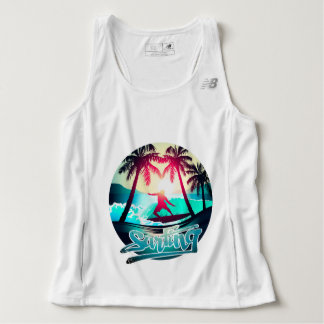 Surfing with palm trees singlet