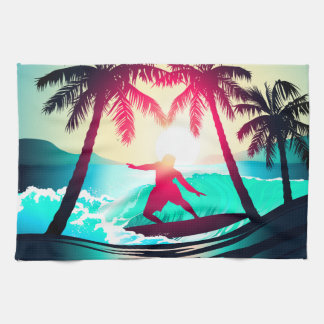 Surfing with palm trees tea towel