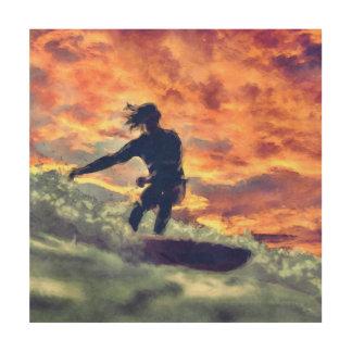 Surfing Wood Wall Art