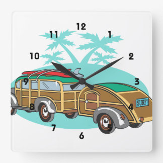Surfing Woody Station Wagon Square Wall Clock