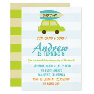 Surf's Up/Green and Blue Stripes/Birthday Party Card