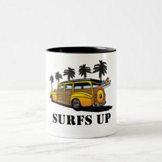 surfs up Two-Tone coffee mug