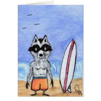 Surf's Up! Raccoon with Surf Board Note Card