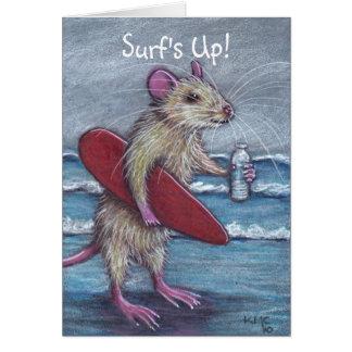 Surf's Up Rat Surfboard at beach Card
