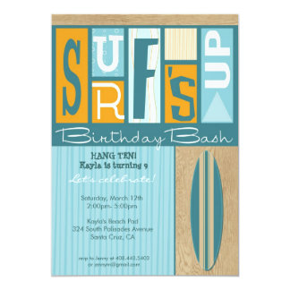 Surf's Up Retro Birthday Party Invite - Orange Gal